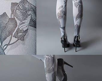 30%off/endsJUL23/ Tattoo Tights -  Climber Plant grey one size full length closed toe pantyhose tattoo socks ,printed tights