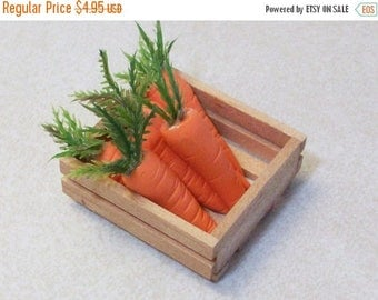 SUMMER SALE 20 % off miniature wooden crate full of carrots: terrariums or table top decoration fairy gardens