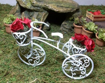 SUMMER SALE 20 % off White tricycle planter miniature fairy garden, gnome or terrariums