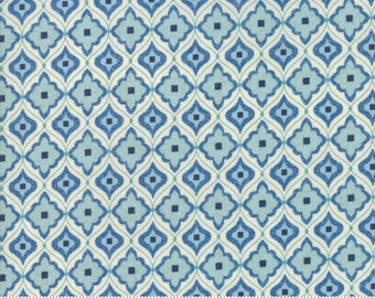 Biscuits and Gravy - Mend Fences in Fluffer Nutter Blue: sku 30487-15 cotton quilting fabric by BasicGrey for Moda Fabrics