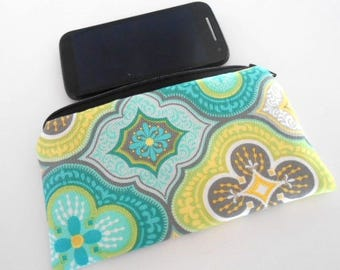 Phone Zipper Pouch Large Cosmetic Bag Zippered Pouch ECO Friendly Padded NEW SIZE Green Tiles