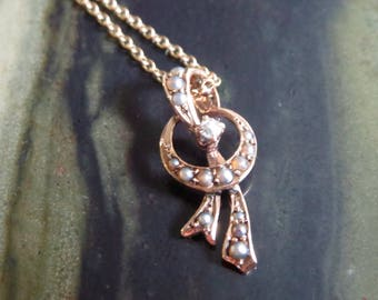 Edwardian 10K Seed Pearl and Paste Ribbon Pendant on Chain