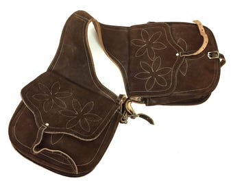 Vintage Leather Saddle Bags / 80s Brown Suede Motorcycle / Over the Shoulder / Horse Saddlebags / Hippie Boho Rustic Western Handmade