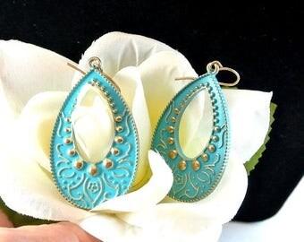 Eclipse Sale Blue Boho Metal Dangle Earrings, Vintage Blue Earrings, Blue Gypsy Earrings, Blue Enamel Earrings