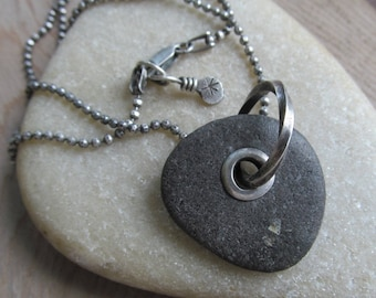 MENS Riveted Beach Stone Necklace Silver Beach Stone Charm Necklace Men Beach Stone Pendant Riveted Long Silver necklace Chunky Mens Jewelry