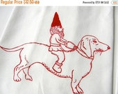 ON SALE Dachshund & Gnome Tea Towel-Hand Screen Printed-Cotton Flour Sack-Dish Towel-Hostess Gift-Teachers Gift, Dog Lover
