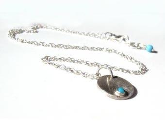 Petit Pendentif rond en argent massif et turquoise - collier ras du cou pierre turquoise