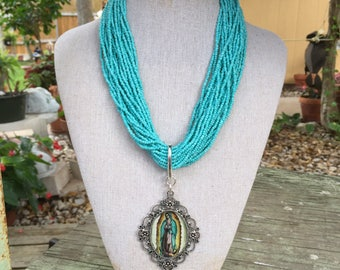 Virgin de Guadalupe Turquoise Necklace