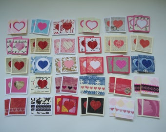 60 little mini notecards, lunch box love notes, mini shop notecards, tiny mixed lot notecards, 2 x 2 mini notecards, blank notecards, lot H1