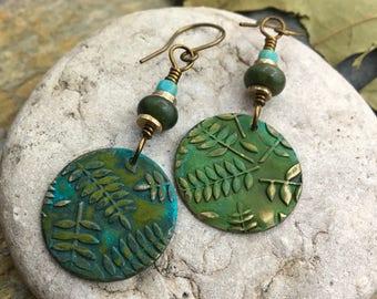 Fern Earrings, Connemara Marble, Boho Earrings, Irish Gypsy, Bronze Verdigris, Disc Earrings, Fern Jewelry, Blue Green Patina, Garden Gifts