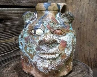 cullet glass devil FACE JUG by Joel Patton, ash and glass glaze