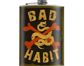 Bad Habit - Vintage Funny Hilarious Novelty 8oz Stainless Steel Flask - comes in a GIFT BOX -  by Trixie & Milo