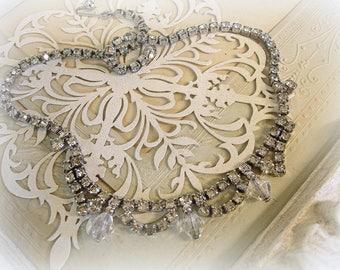 vintage rhinestone choker necklace rhinestone chain sweet focal crystal bead drops