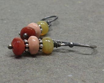 Fire Opal Earrings Orange Gemstone Stack Oxidized Sterling Silver Gift for Girlfriend October Birthstone Gift for Her