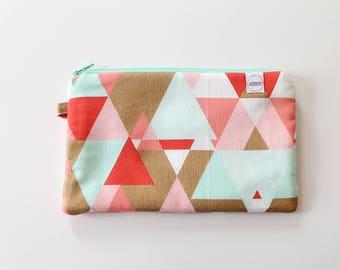 Gold zipper pouch, cash envelope, Eyeglasses case, Pen pencil case, cash wallet, bag for mom, Cosmetic makeup case, journal supplies bag