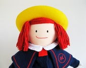 Vintage Madeline Doll by Eden 1990s Toys School Uniform Blue Coat Tartan Dress Lace trimmed Panties M embroidery Yellow hat Blue ribbon