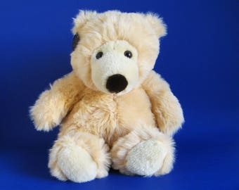 Vintage Pale Peach Teddy Bear Stuffed Animal Westcliff Collection Sitting Bear 1990s Toys Black Nose Pink
