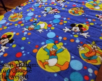 Semi Custom Weighted Blanket - Size MEDIUM - You choose weight - Disney/Mickey Mouse