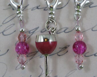 Red Wine Charm and Fuchsia Crackle Glass Removable Stitch Markers - Item No. 1047
