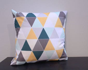Pillow cover blue teal grey triangle 18 inch 18x18 modern accessory home decor nursery baby gift present zipper closure canvas ready to ship
