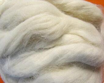 home grown alpaca/angora bunny natural white roving 8 ounces each