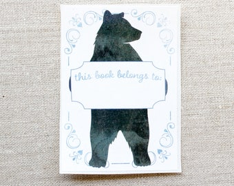 Kids Bookplate Stickers - Bear bookplate - Book Labels - Childrens Bookplates - personalized gift - custom book plates - bookworm gift