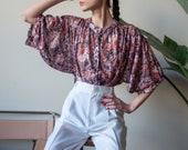 70s floral print blouse / gauzy floral tunic / floral print top / s / m / l / 3591t / B18