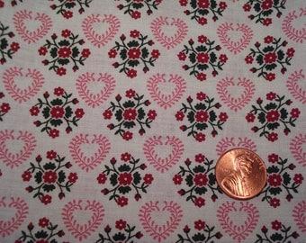 Quarter yard TINY PRINT fabric FOLK design doll dress sewing quilting floral hearts
