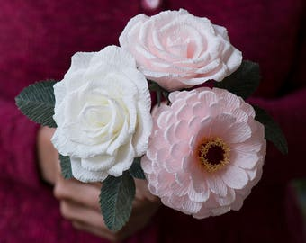 Small bouquet of crepe paper flowers