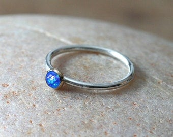 Sterling Silver and 14K Goldfilled Simulated Opal Ring 4 mm, Mixed Metal, Stacking Ring, Size 2 to 15,October Birthstone,Womens Jewelry
