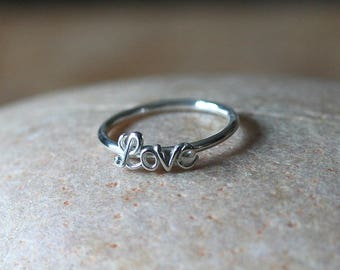 Love Stacking Ring Sterling Silver • Friendship Ring • Size 6.75 or 7 • Friendship Ring • Womens Ring • Gift for Her • Valentines Day Ring