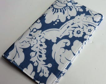 Checkbook Cover Case Cheque Coupons Receipts Check Book Money Holder - White Floral on Country Blue Fabric