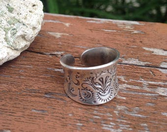 Sterling Silver Anticlastic Boho Finger Cuff Ring