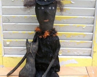 On Sale Primitive Halloween Long Nose Witch With Cat-