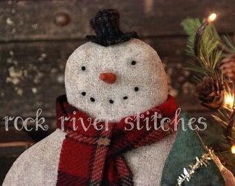 Primitive Christmas Standing Snowman Doll PDF Pattern, Doll Pattern