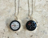 Compass Necklace Black  or White Working Dial  Sterling Silver Setting Graduation Necklace