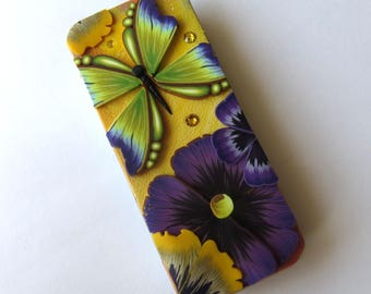 Green and Purple Butterfly Slide Top Tin, Sewing Needle Magnetic Pin Box Polymer Clay Covered Tin, Magnetic Needle Case
