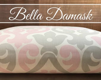 Dog Bed Cover, Damask Bella Pink/French Grey Cover, Dog Bed Duvet, Pet Bed Cover, Cat Bed Cover, Small to XL Covers for Dog Beds