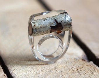 Birch Tree Twig Resin Ring, Resin Ring, Unique Clear  Resin Ring with Natural Birch Tree Twig, Woodland Ring, Resin Jewelry, Botanical Ring