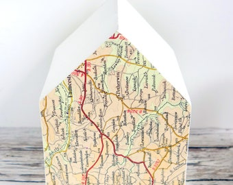 White painted wood house with map. Modern home decor. New home, house warming, desk, travel gift. Mixed media art ornament