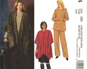 Uncut Women's JACKET SKIRT PANTS Top Pattern McCall's #4934 Size 18W-24W 36-42 Poncho-Style Pullover Top Sewing