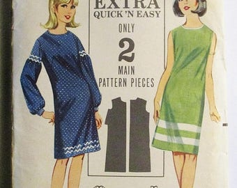 60% OFF SALE 1960s Vintage Sewing Pattern Butterick 3566 Misses One-Piece Dress Pattern Size 12 Bust 32