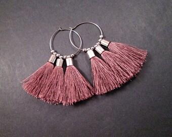 Tassel Hoop Earrings, Taupe Rayon Tassels, Silver Beaded Hoop Earrings, FREE Shipping U.S.