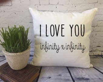 I love you infinity x infinity decorative throw pillow cover, anniversary pillow, cotton anniversay