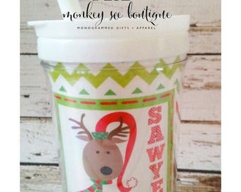 ON SALE Toddler tumbler with everlasting straw - reindeer christmas design - party favor - christmas gift - child's personalized tumbler - x