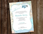 Travel Baby Shower Invitation - Map Invitation - Plane & Banner Invitation- Oh, the Places He'll Go - Baby Shower - Adventures Await Shower
