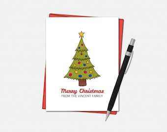 Merry Christmas Cards - Personalized Merry Christmas Cards - Set of 10 - Personalized Christmas Tree Cards - Custom Christmas Cards