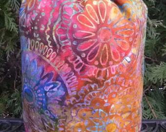 Batik drawstring bag knitting project bag, stuff sack, knitting project bag, Batik Circles, Suebee
