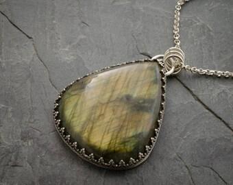 Labradorite Pendant. Labradorite Necklace. Gemstone Jewelry. Labradorite Gemstone. Teardrop Cabochon. Fancy Labradorite Necklace.