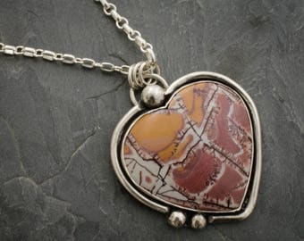 Jasper Heart Necklace. Heart Pendant. Silver Heart Necklace. Patchwork Heart Pendant.  Jasper Cabochon.